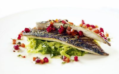 Seared mackerel with the pomegranate and manuka honey dressing